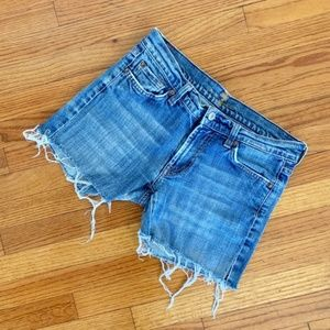 7 For All Mankind Blue Washed Cut Off Denim Shorts